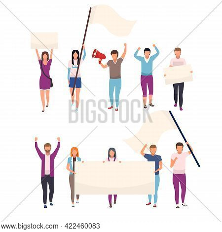 Protesters With Blank Placards Flat Vector Characters Set. Political Protest, Social Movement Partic