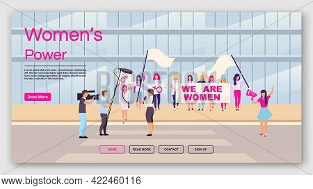 Women Power Landing Page Vector Template. Feminist Protest Website Interface Idea With Flat Illustra