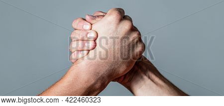 Arms Wrestling. Closep Up. Friendly Handshake, Friends Greeting, Teamwork, Friendship. Handshake, Ar