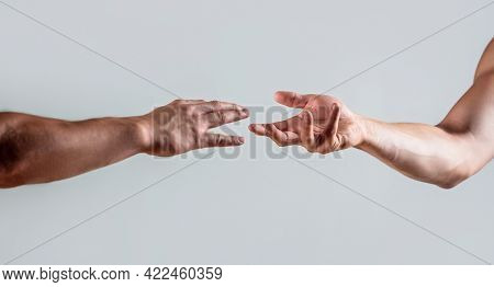 Two Hands, Helping Arm Of A Friend, Teamwork. Rescue, Helping Gesture Or Hands. Close Up Help Hand.