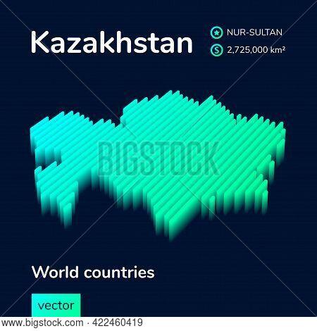Stylized Isometric Neon Striped Vector Kazakhstan Map With 3d Effect. Map Of Kazakhstan Is In Green