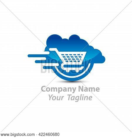 Cloud Shoping Logo Design. Vector Online Shop Logo Template.eps 10