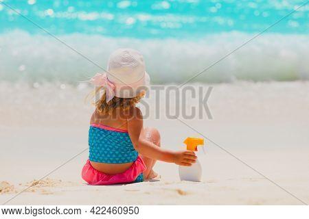 Little Girl With Sunblock Cream On Tropical Beach