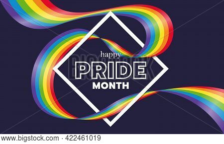 Happy Pride Month Text Word In Diamond Square Frame And Rainbow Gay Pride Flag Wave Around On Dark P
