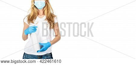 Hands Wash Antiseptic. Corona Virus Concept. Young Woman In Medical Mask, Washes Hands With A Gel An