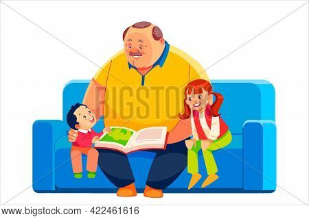 Old Grandparent With Grandchildren Sitting On Couch At Home And Reading Book. Grandfather, Grandson