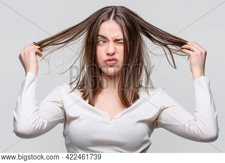 Messy Hair. Brunette Woman With Messed Hairs. Girl Having A Bad Hair. Bad Hairs Day. Frustrated Woma