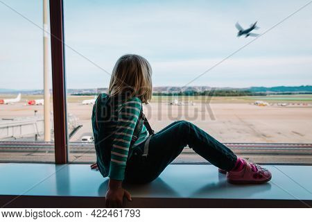 Little Girl Waiting In Airport, Family Travel