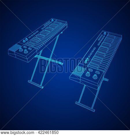 Piano Roll Analog Synthesizer Faders Buttons Knobs. Wireframe Low Poly Mesh