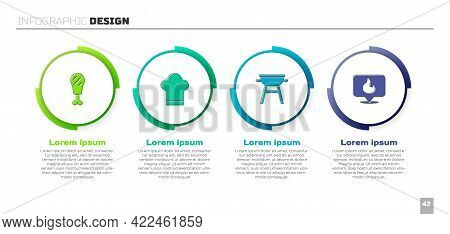 Set Chicken Leg, Chef Hat, Barbecue Grill And Location With Fire Flame. Business Infographic Templat