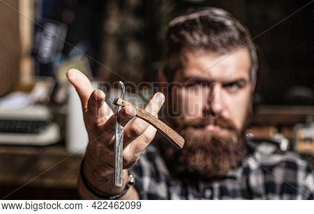 Straight Razor, Barbershop, Beard. Portrait Of Brutal Bearded Man. Vintage Straight Razor. Mens Hair