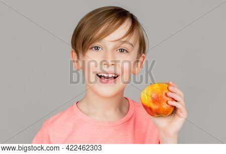 Little Boy Eating Apple. Boy Apples Showing. Child With Apples. Portrait Of Cute Little Kid Holding