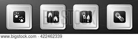 Set Paw Print, Horse Paw Footprint, Human Footprints Shoes And Icon. Silver Square Button. Vector