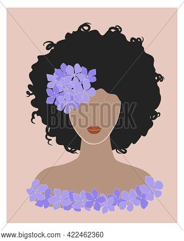 Cute Dark Skinned Young Woman With Curly Hair And Purple Hydrangea Flower. Brunette Girl Afro Hairst