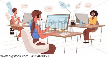 Call Center Web Concept In Flat Style. Operators In Headsets Take Calls, Advise Clients. Tech Suppor