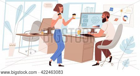 Designer Company Web Concept In Flat Style. Employees At Coffee Break. Collaboration And Teamwork At