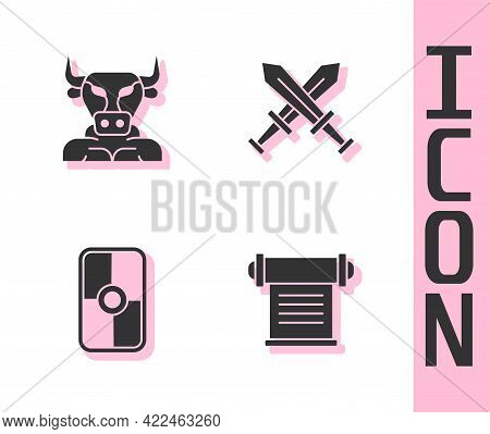Set Decree, Parchment, Scroll, Minotaur, Greek Shield And Crossed Medieval Sword Icon. Vector