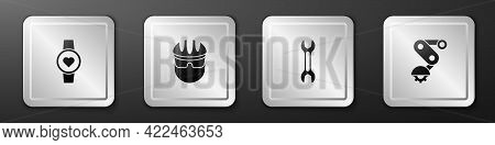 Set Smart Watch, Bicycle Helmet, Wrench Spanner And Derailleur Bicycle Rear Icon. Silver Square Butt