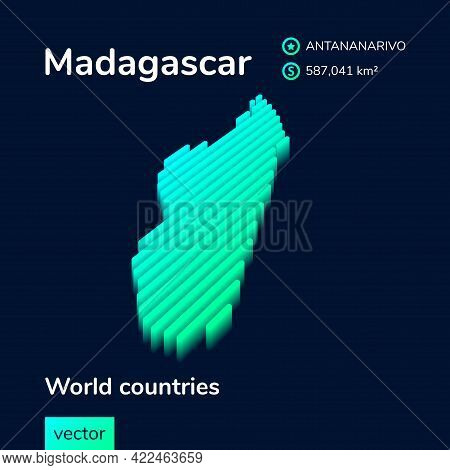 Stylized Striped Vector Isometric Map Of Madagascar With 3d Effect. Map Of Madagascar Is In  Neon Gr