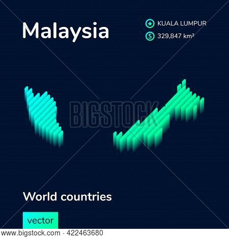 Stylized Striped Isometric Vector Map Of Malaysia With 3d Effect. Map Of Malaysia Is In  Neon Green