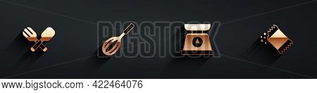 Set Crossed Fork And Spoon, Kitchen Whisk, Scales And Packet Of Pepper Icon With Long Shadow. Vector