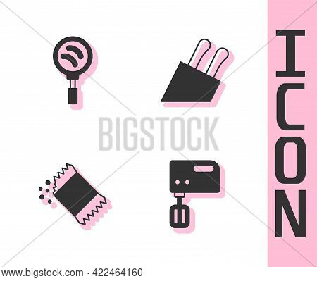 Set Electric Mixer, Frying Pan, Packet Of Pepper And Knife Icon. Vector