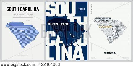 8 Of 50 Sets, Us State Posters With Name And Information In 3 Design Styles, Detailed Vector Art Pri