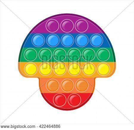 Pop It In The Form Of A Rainbow Mushroom. Cute Colorful Cartoon Anti-stress Sensory Toy For Autists