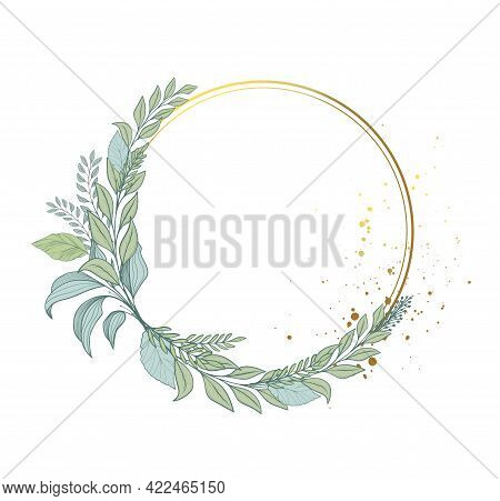 Elegant Floral Frame Of Leaves, Round Wreath Of Greenery And Plants. Green Bouquet And Gold Frame Fo