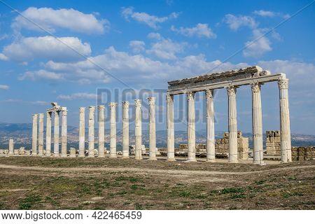 Colonnade On Street In Laodicea, Ancient City Near Denizli, Turkey. It Was Built Around Former Agora