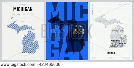 26 Of 50 Sets, Us State Posters With Name And Information In 3 Design Styles, Detailed Vector Art Pr