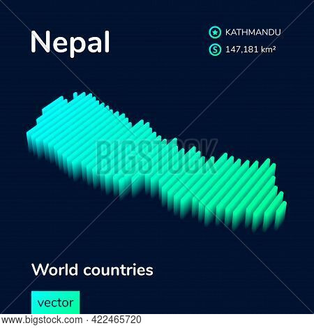 Nepal Map. Stylized Isometric Neon Striped Vector 3d Map. Map Of Nepal Is In Green And Mint Colors O