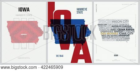29 Of 50 Sets, Us State Posters With Name And Information In 3 Design Styles, Detailed Vector Art Pr