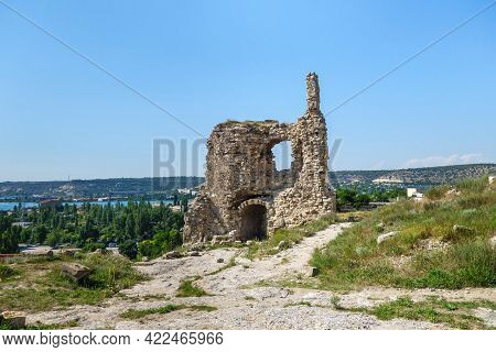 Remains Of Medieval Tower Of Fortress Kalamita, Inkerman, Crimea. It Was Founded In Vi By Byzantines