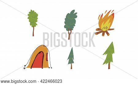 Cute camping set. Various deciduous and coniferous trees shelter tent, bonfire. Hand-drawn vector isolated illustration.