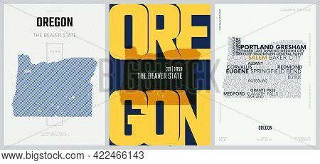 33 Of 50 Sets, Us State Posters With Name And Information In 3 Design Styles, Detailed Vector Art Pr