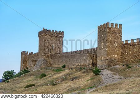 Main Towers Of Genoese Fortress In Sudak, Crimea. All Of Them Make Up Complex Of Consular Castle, Me