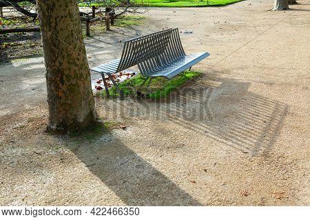 Empty Bench In Autumn Park . Jardin Des Plantes In Paris