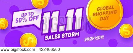 11.11 Shopping Day Purple Banner, Global Shopping World Day. Singles Day Sale Flyer. Vector