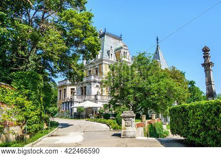Massandra Palace As It Looks From Main Road In Park. It Was Founded In 1881 By Prince Vorontsov. Now