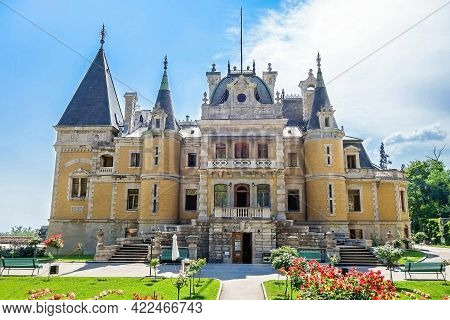 Facade Of Massandra Palace, Near Yalta, Crimea. Building Was Founded In 1881 By Prince Vorontsov. No