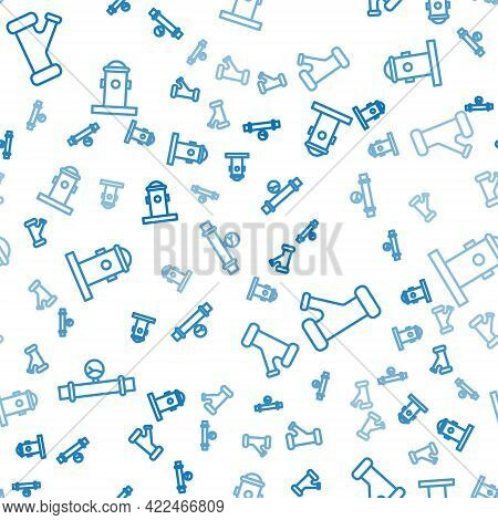Set Line Industry Pipe And Manometer, Industry Metallic Pipe And Fire Hydrant On Seamless Pattern. V
