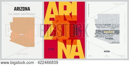 48 Of 50 Sets, Us State Posters With Name And Information In 3 Design Styles, Detailed Vector Art Pr