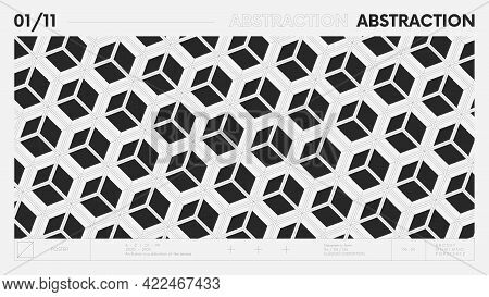 Abstract Modern Geometric Banner With Simple Shapes In Black And White Colors, Graphic Composition D