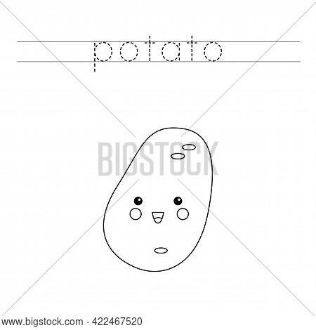 Trace The Word. Cute Kawaii Potato. Handwriting Practice For Preschool Kids.