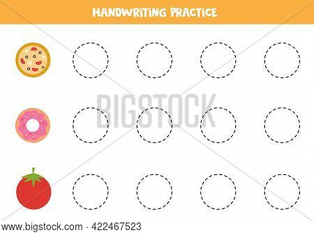 Tracing Contours Of Cute Circle Objects. Handwriting Practice For Children.