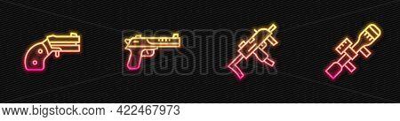 Set Line Mp9i Submachine Gun, Small Revolver, Desert Eagle And Sniper Optical Sight. Glowing Neon Ic