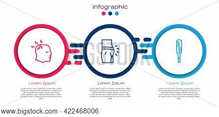 Set Line Man Having Headache, Abdominal Bloating And Medical Thermometer. Business Infographic Templ