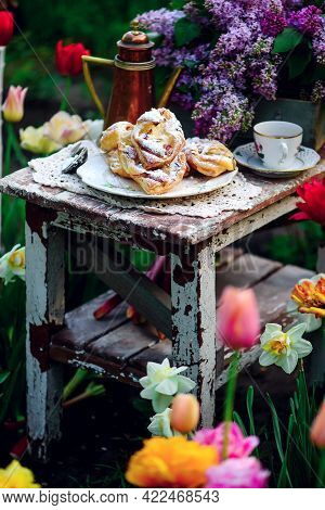 Puffs With Cottage Cheese And Rhubarb.outdoor Photo.style Vintage. Selective Focus