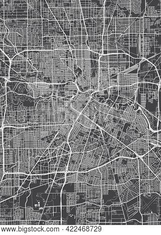 City Map Houston, Monochrome Detailed Plan, Vector Illustration
